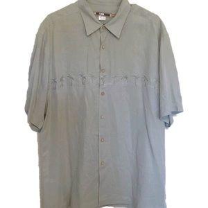 Quiksilver button down palm tree shirt